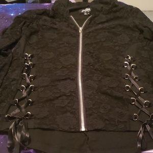 Royal bones black lace zip hoodie xl